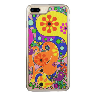Colorful Retro Flower Paisley Psychedelic Carved iPhone 7 Plus Case