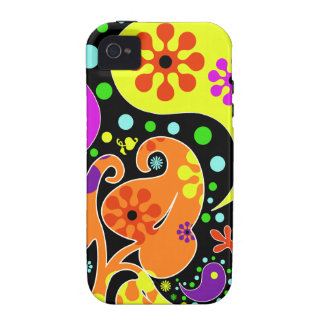 Colorful Retro Flower Paisley Psychedelic Case-Mate iPhone 4 Case