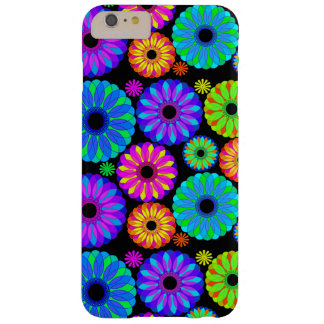 Colorful Retro Flower Patterns on Black Background Barely There iPhone 6 Plus Case