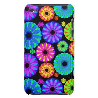 Colorful Retro Flower Patterns on Black Background Barely There iPod Covers