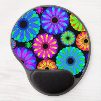 Colorful Retro Flower Patterns on Black Background Gel Mouse Pad