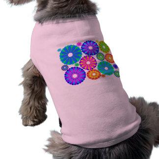 Colorful Retro Flower Patterns on Black Background Sleeveless Dog Shirt