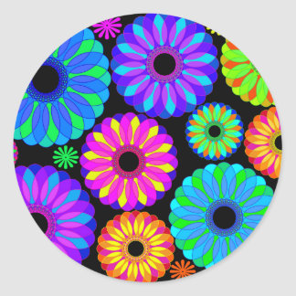 Colorful Retro Flower Patterns on Black Background Stickers