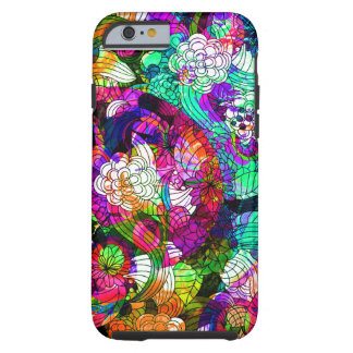 Colorful Retro Flowers Collage Tough iPhone 6 Case