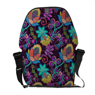 Colorful Retro Flowers Design-Glass-Beads Look Commuter Bags