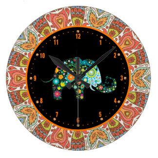 Colorful Retro Flowers & Elephant 4 Large Clock