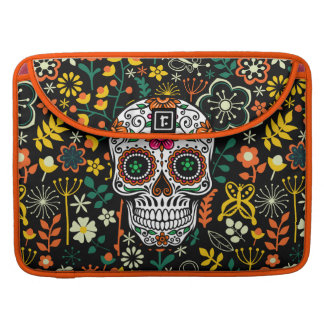 Colorful Retro Flowers & Retro Sugar Skull Sleeve For MacBook Pro