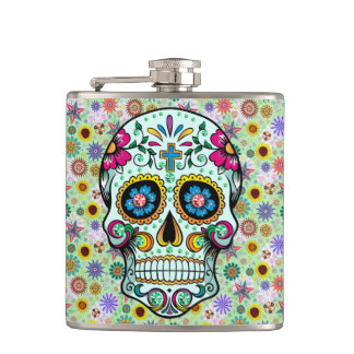Colorful Retro Flowers Skull Hip Flask
