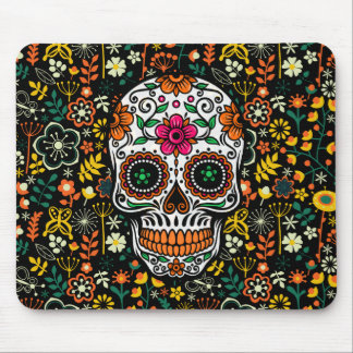 Colorful Retro Flowers Sugar Skull Mouse Mat