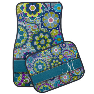 Colorful Retro Flowers with Monogram Car Mat
