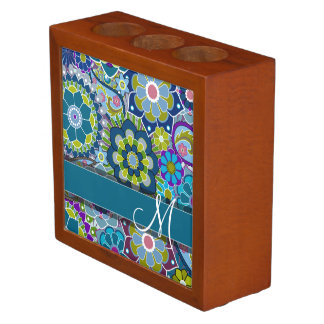 Colorful Retro Flowers with Monogram Desk Organiser
