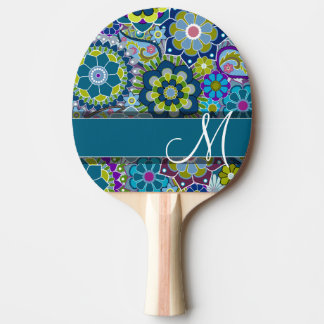 Colorful Retro Flowers with Monogram Ping Pong Paddle
