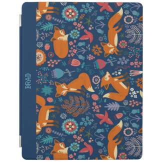 Colorful Retro Foxes Birds & Flowers Pattern iPad Cover