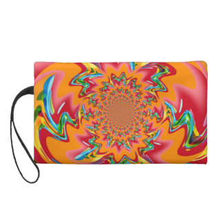 Colorful Retro Funky Painting Abstract Art 2 Wristlet Purses