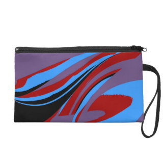 Colorful Retro Funky Painting Abstract Art Wristlet Purse