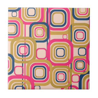 Colorful Retro Funky Pattern Small Square Tile