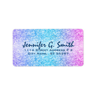 Colorful Retro Glitter And Sparkles Address Label