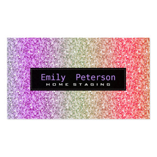 Colorful Retro Glitter & Sparkles Pattern Pack Of Standard Business Cards