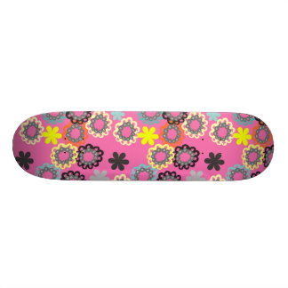 Colorful Retro Hippy Chic Funky Flowers Skateboards
