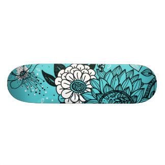 Colorful Retro Hippy Chic Funky Flowers Skateboard