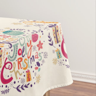 Colorful Retro Holly Jolly Christmas Text Design Tablecloth