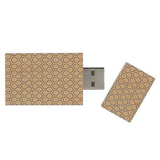 Colorful Retro Honeycomb Grid Pattern Wood USB 2.0 Flash Drive