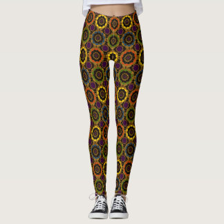 Colorful Retro Mandala Pattern yoga Leggings