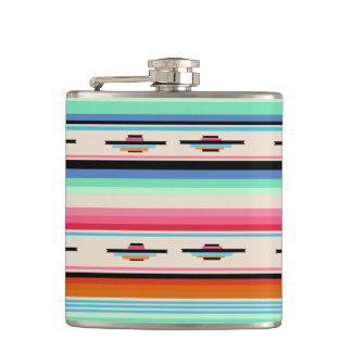 Colorful Retro Mexican Textile Pattern Hip Flask