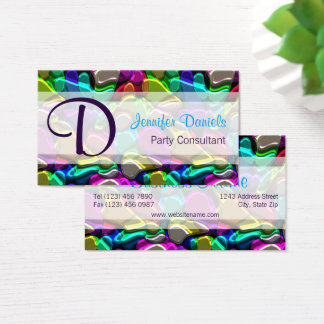 Colorful Retro Modern Abstract Shapes Pattern Business Card
