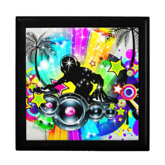 Colorful Retro Music Theme-DJ  Spinning Records Large Square Gift Box
