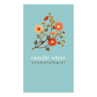 Colorful Retro Orange and Red Floral Pack Of Standard Business Cards