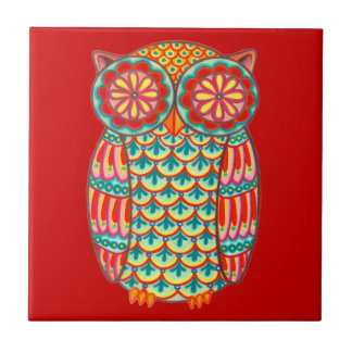 Colorful Retro Owl Ceramic Tile