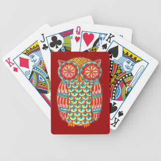 Colorful Retro Owl Playing Cards