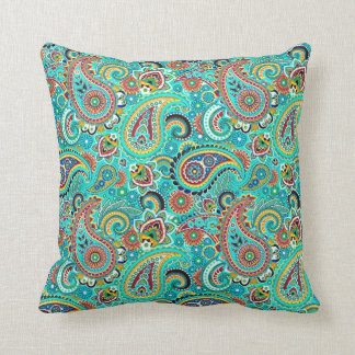 Colorful Retro Paisley Cushion
