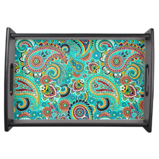 Colorful Retro Paisley Serving Tray
