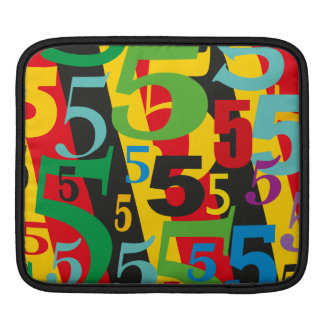 Colorful Retro Pattern Number Five and Stripes Sleeve For iPads