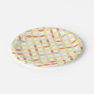 colorful retro pattern paper plate