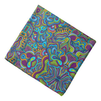 Colorful Retro Psychedelic Abstract Swirls Kerchief