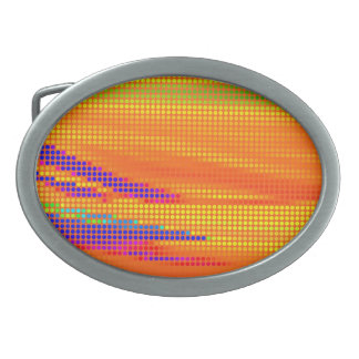 COLORFUL RETRO RAINBOW DOTS ART OVAL BELT BUCKLE