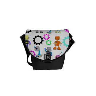Colorful Retro Robots Messenger Bag