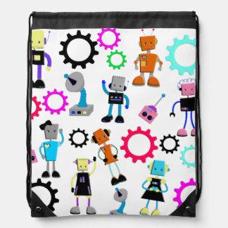 Colorful Retro Robots Drawstring Bags