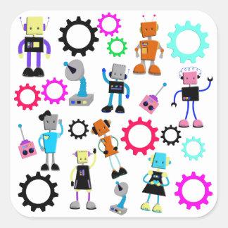 Colorful Retro Robots Square Sticker