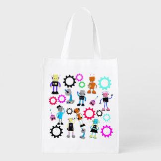 Colorful Retro Robots Reusable Grocery Bag