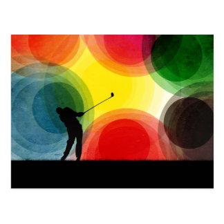 Colorful Retro Silhouette Golfer Postcard