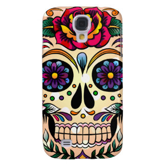 Colorful Retro Skull Flowers & Roses Galaxy S4 Case