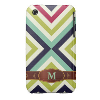 Colorful Retro Stripe Monogram Pattern iPhone 3 Case-Mate iPhone 3 Cases