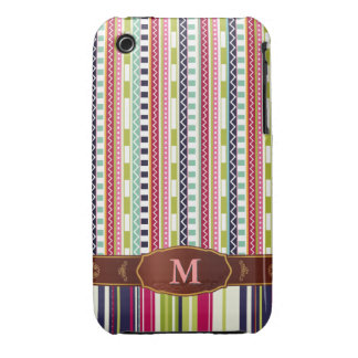 Colorful Retro Stripe Monogram Pattern iPhone 3 iPhone 3 Case