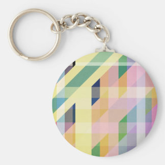 Colorful Retro Stripes Collage Keychain