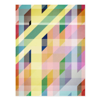 Colorful Retro Stripes Collage Post Cards