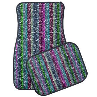 Colorful Retro Stripes Glitter Pattern Car Mat